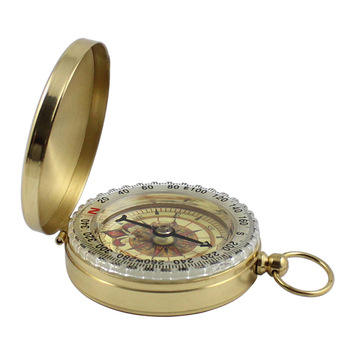 New Outdoor Camping Hiking Portable Pocket Brass Gold Color Copper Compass Navigation with Noctilucence Display Compass