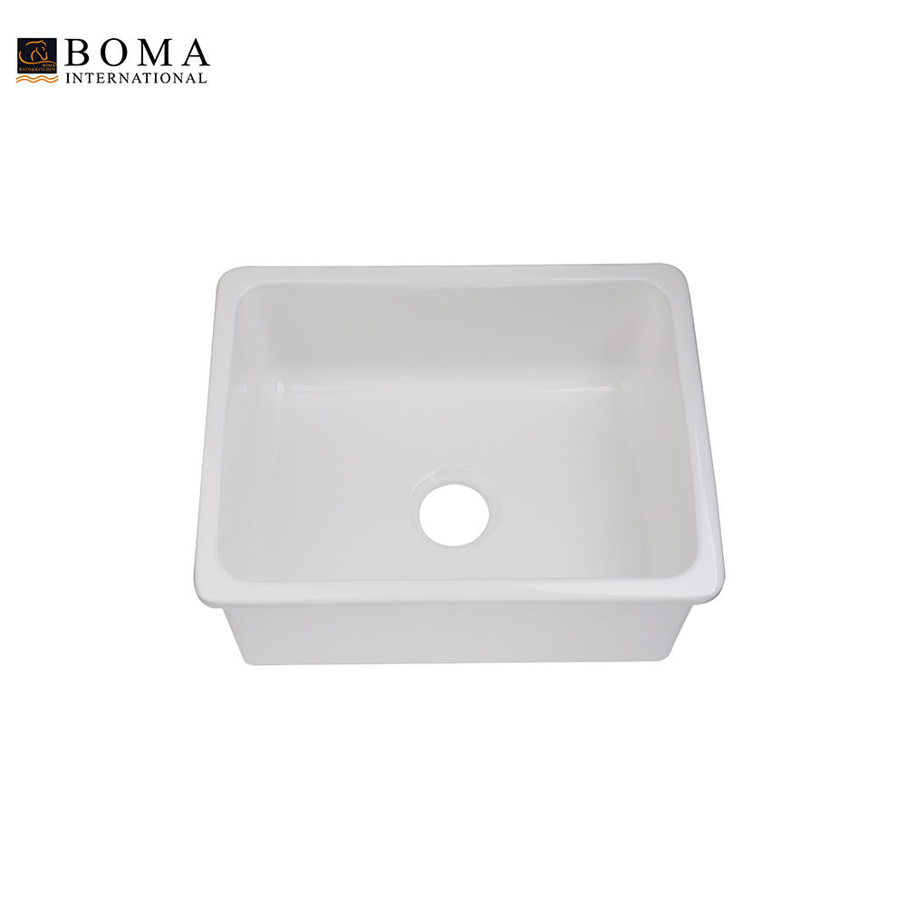 White Single Bowl Undermount Ceramic Porcelain Kitchen Sink