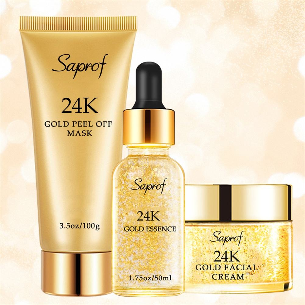 OEM Luxury Popular 24 K Gold Skin Care Set Serum Peel Off Mask Facial Cream