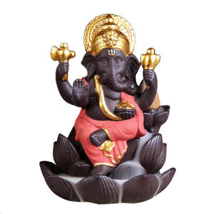 Ywbeyond Elephant God Ganesha Lotus Backflow incense Burner Buddha Thailand Indian buddhist Waterfall incense sticks holder