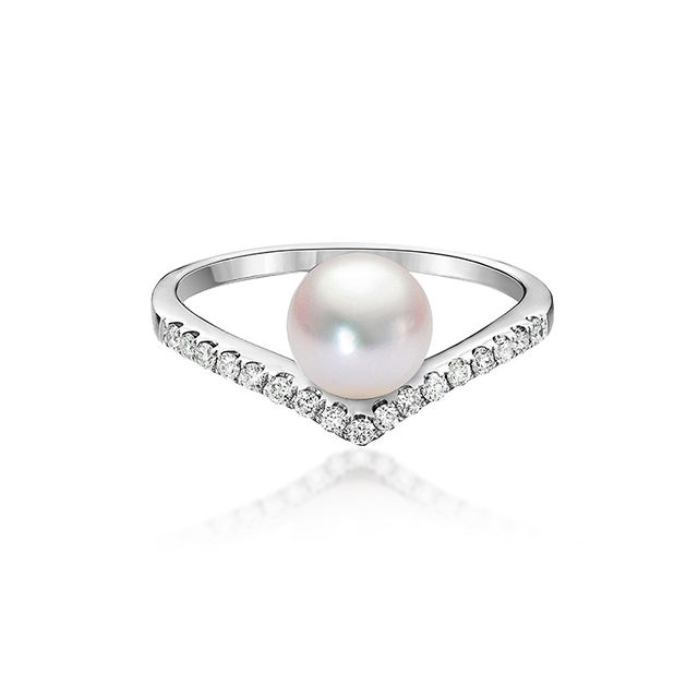 Natural High Quality Luxury Akoya Pearl RingとDiamonds 18K Real Gold Jewelry Free Shipping