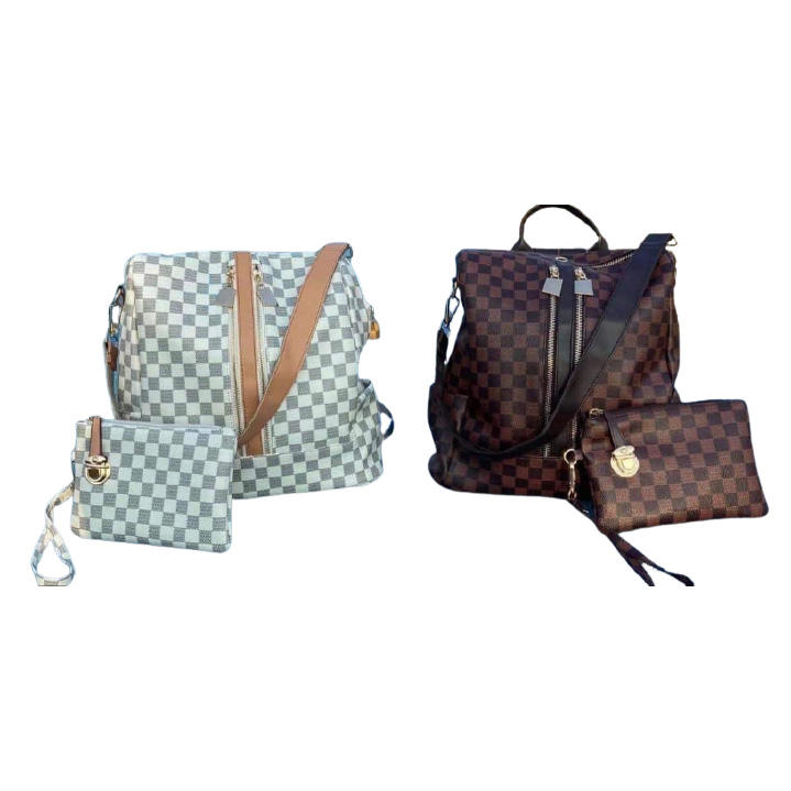 Wholesale Custom Luxury White Checkered Convertible Backpack & Wristlet