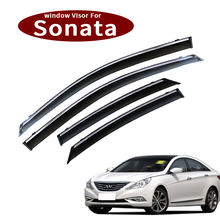 4Pcs Acrylic+3DPlastic Electroplating car window rain guard sun shade window visor door visor applicable to Hyundai Sonata
