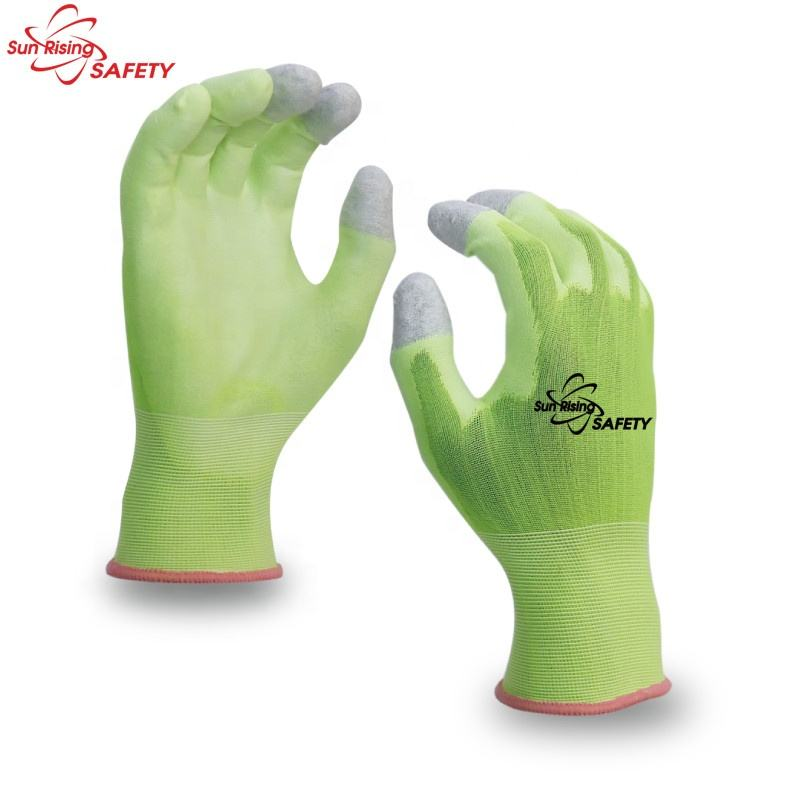 18 Gauge PU Palm Nylon Liner Three Finger Touchscreen Thin Work Glove
