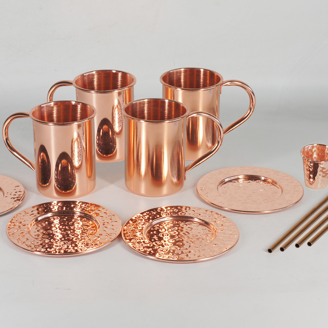 Hot Selling Moscow Mule Mugs Set von 4 16 unzen Hand Crafted Food Safe Beer Copper Mugs Cocktail Tumbler Cups Great Gift Set