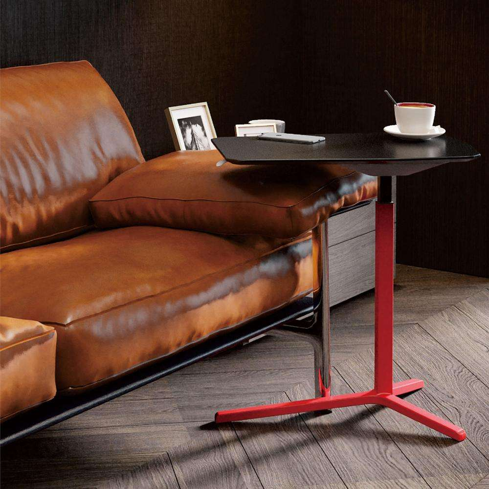 Height Adjustable Gas Lift MDF with PU leather tabletop Sofa side and bed side laptop computer table