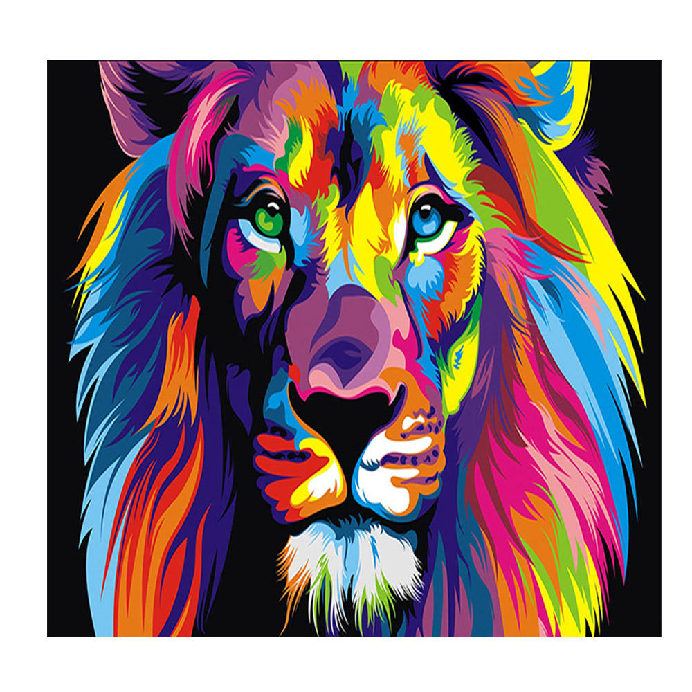 Full drill Needle work diamond embroidery 5D DIY Colorful lion 3D diamond mosaic cross sittch picture of rhinestones wall decor
