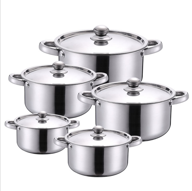 2020 10pcs Cheap Royal Prestige Non Stick Stainless Steel Happy Baron Cookware Hot Pot Set Soup cookware sets Induction