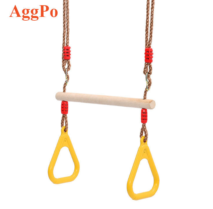 Trapeze Bar with Ring Plastic Hanging Handheld Ring Children Wooden Trapeze Swing Bar Kids Strength Training Frames