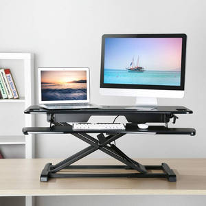 Gas Spring Height Adjustable Standing Desk Sit to Stand Laptop Computer Office Desks with Keyboard Table