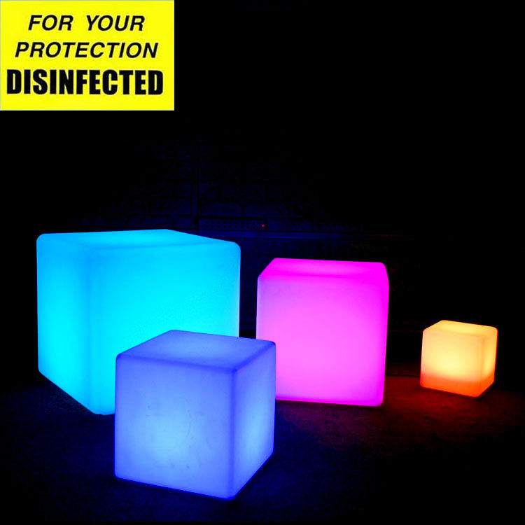 RGB furniture lighting LED plastic cube stool/LED funny bar stool with colors changing via remote control