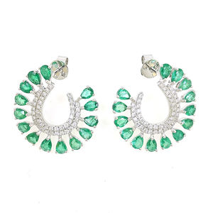 Newest Style Exquisite Wedding White Gold Color Swirl Emerald Earrings For Lady