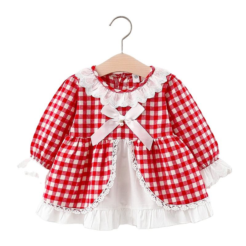 CCXTE725 Wholesale 2021 children's spring dress for toddler flower bow plaid clearance stock lots red baby dress designs