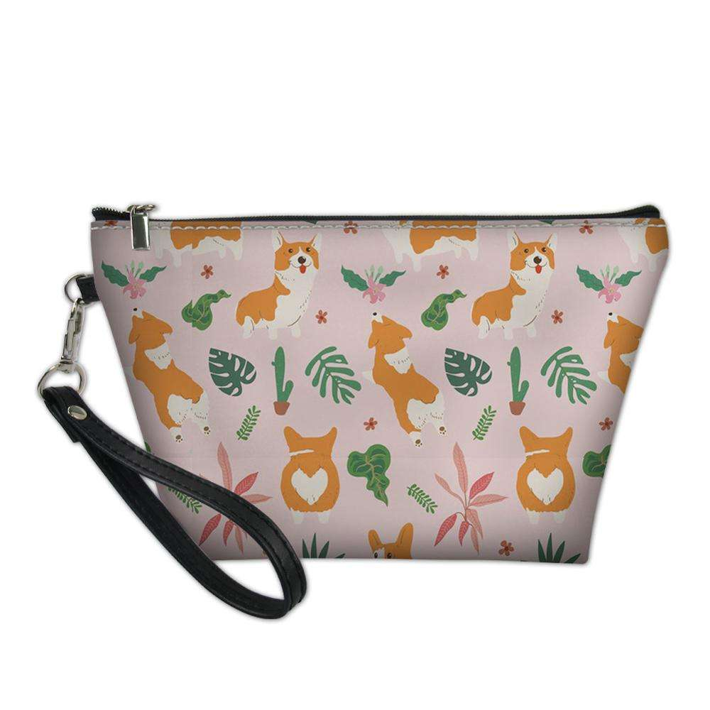 Promotional Gift OEM Tropical Corgi Printed Soft PU Leather Beauty Cosmetic Bags Cases Makeup Storage
