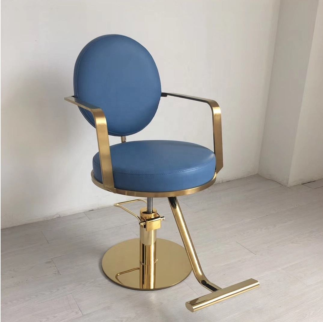Gold metal salon styling chair stylist chair