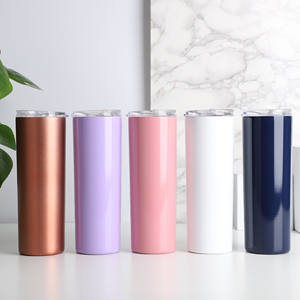 Skinny Travel Tumbler with Lid Vacuum Insulated Double Wall Stainless Steel 20oz Straw Tumbler for Coffee Tea Beverages
