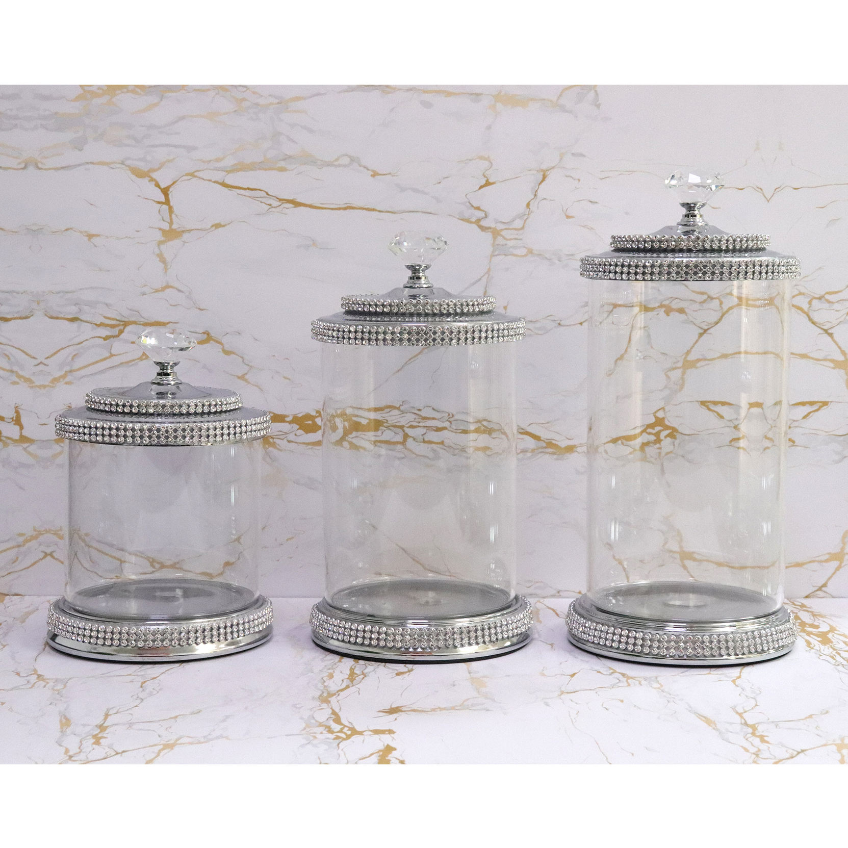 Glass Jar Silver Decor Acrylic Cookie Candy Weed Wholesale Mason Luxury Crystal Containers Jar Glass Storage Bottles With Lid
