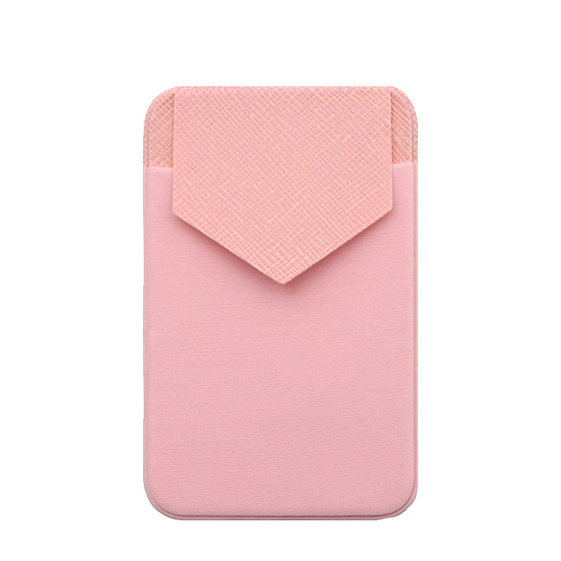New Design Triangle leather Skin Lycra Cell Phone ID Holder Card Pocket Money Wallet for smart phone