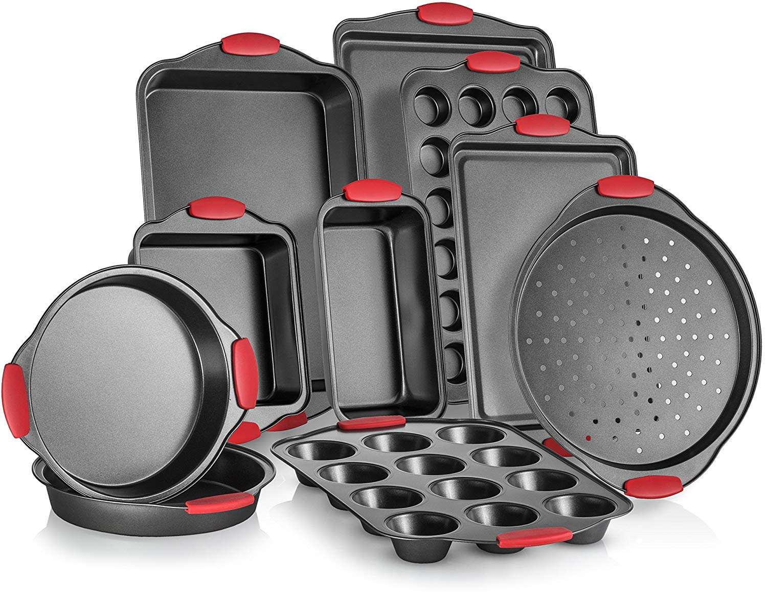 Amazon hot selling 10-Piece Nonstick Carbon Steel Bakeware Sets With Red Silicone Handles Nonstick Bakeware Sets