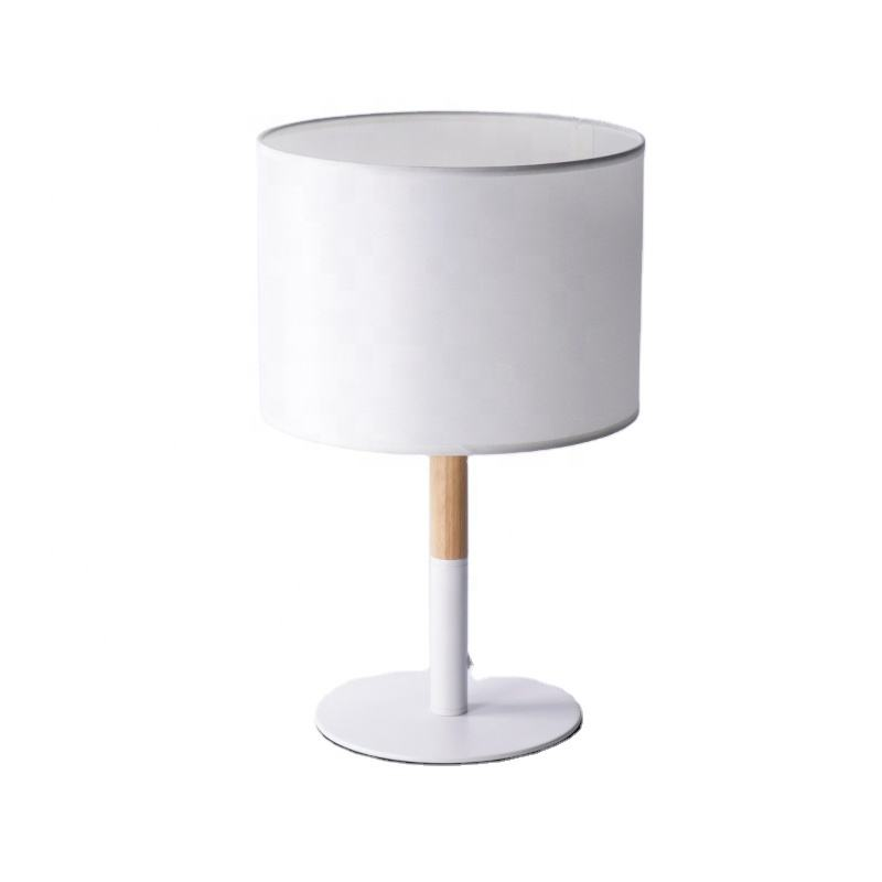 bedside table lamp Wooden Nordic Style Table Lamp white black fabric lampshade