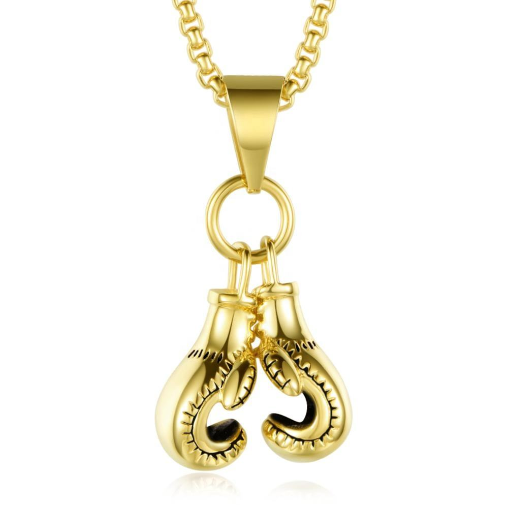 Direct Supply Stainless Steel Sports Boxing Pendant Silver Or Gold Boxing Jewelry Sets Necklace