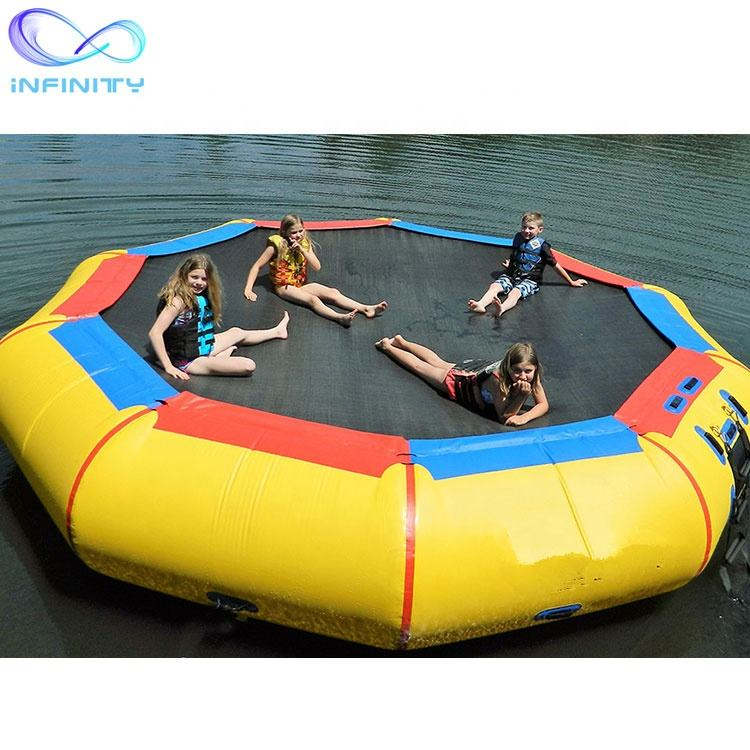 Popular Inflatable Floating Water Jumping Bed sea water park pvc inflatable floating trampoline seadoo water trampoline
