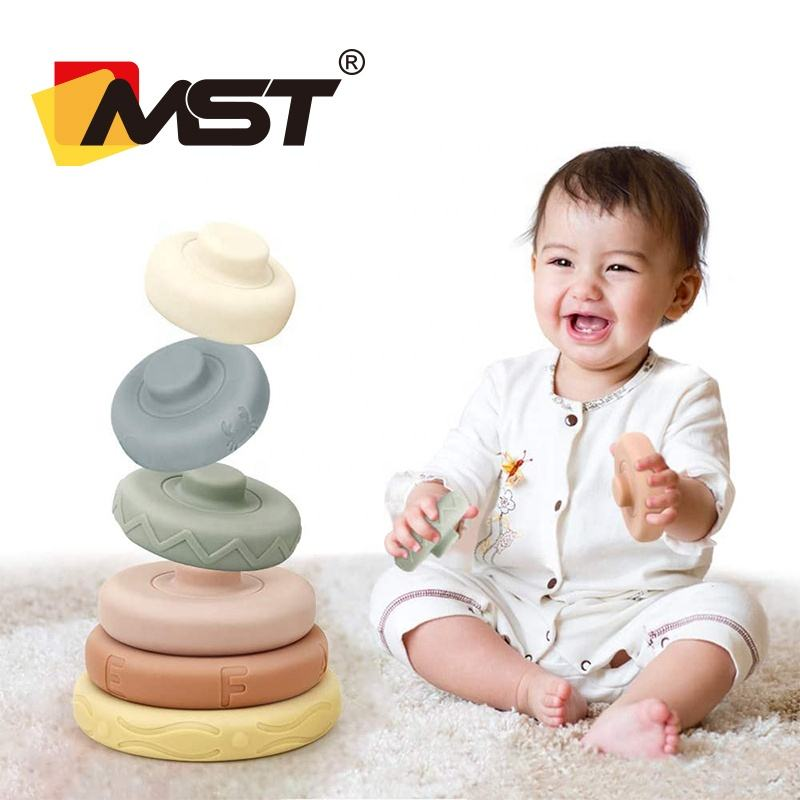 MST 6PCS Baby Building Stacking Circles Toys Soft Rings Stacker Learning Teethers Stacking Cups For Infant