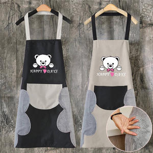 Wholesale Home Kitchen Cooking Waist Waterproof Small daisies Hand Towel Apron Cute Bear Hanging Neck Towel Apron