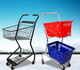 Manufacturer hot sale supermarket rolling 2-tier shopping trolley cart with plastic basket
