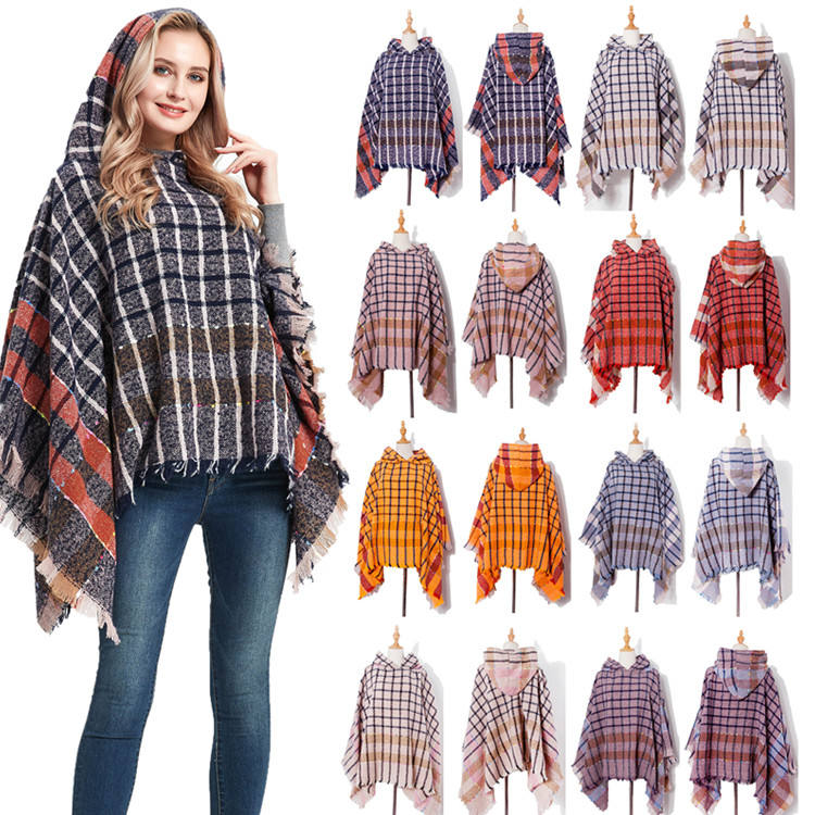 Wholesales New Arrival Elegant Women Winter Open Front Thick Poncho Cape Knit Warm shawl
