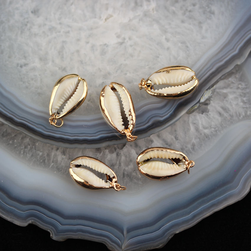 AM-YDSS103 Cowrie Shell Pendant Handmade Charms for Jewelry Making,Shell Cowry Pendant with Gold Plated Edged