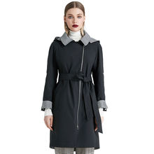 MIEGOFCE Wholesale Fashion 2020 Autumn Long Sleeve Hooded Ladies Trench Jacket Solid Color Windproof Long Trench Coat Women