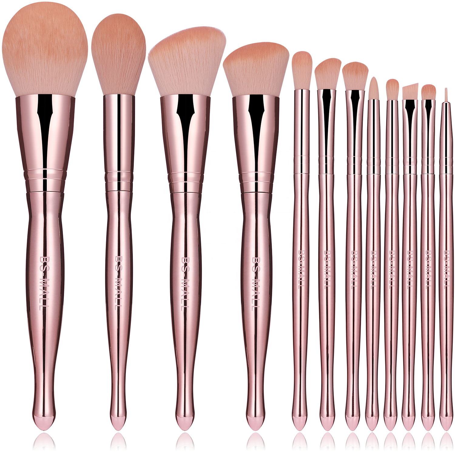 2020 Baru Make Up Sikat Brochas Maquillajes Rose Gold 12Pcs Ramah Lingkungan Makeup Brushes Makeup Kustom Sikat