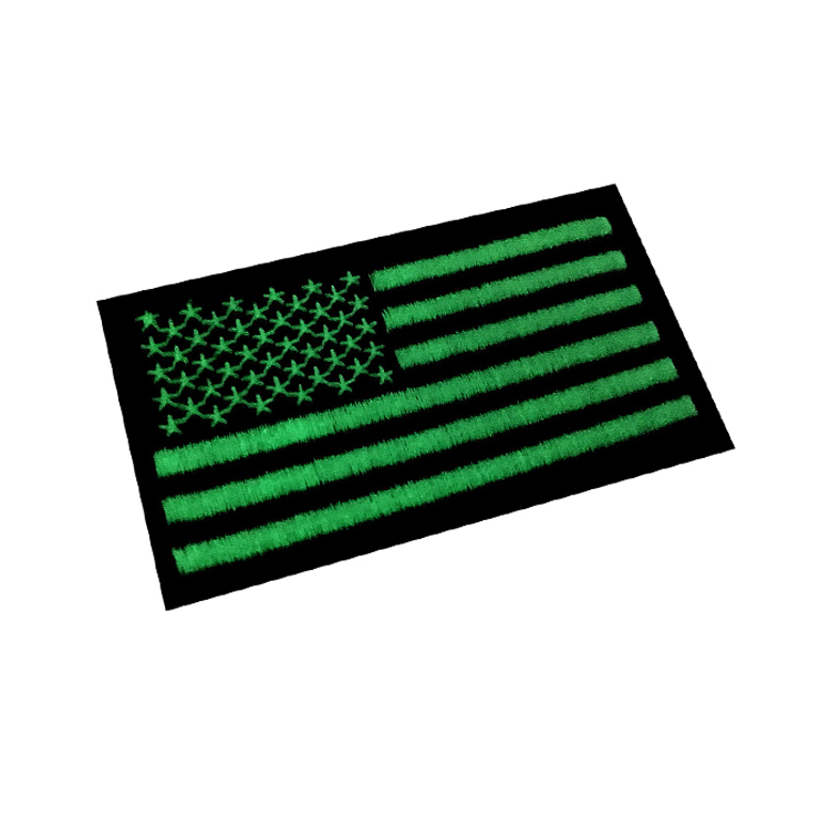 Custom iron on flag embroidered patch glowing in the dark