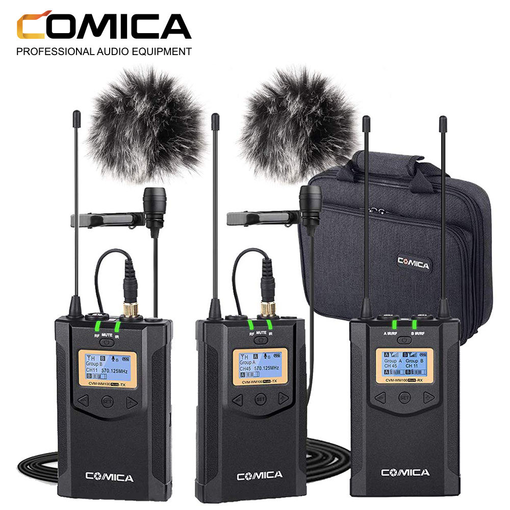 COMICA CVM-WM100 PLUS UHF 48-Channels Mono/Stereo Real-Time Monitoring Wireless Microphone for DSLR, camera and smartphone