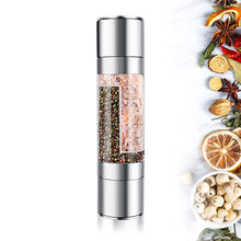 Herb Spice Grinder Mill Stainless Steel Salt Pepper Mill 2 in 1 Manual Salt and Pepper Mills
