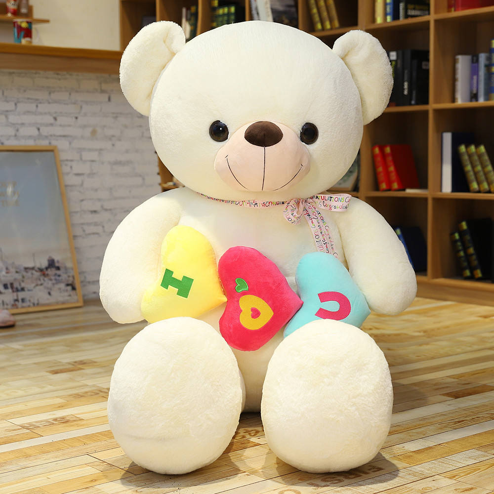 Drop shipping Big Size Hugging Love Heart Teddy Bear With Flower Soft Plush Large Teddy Bear Toys Gift For Children's Day