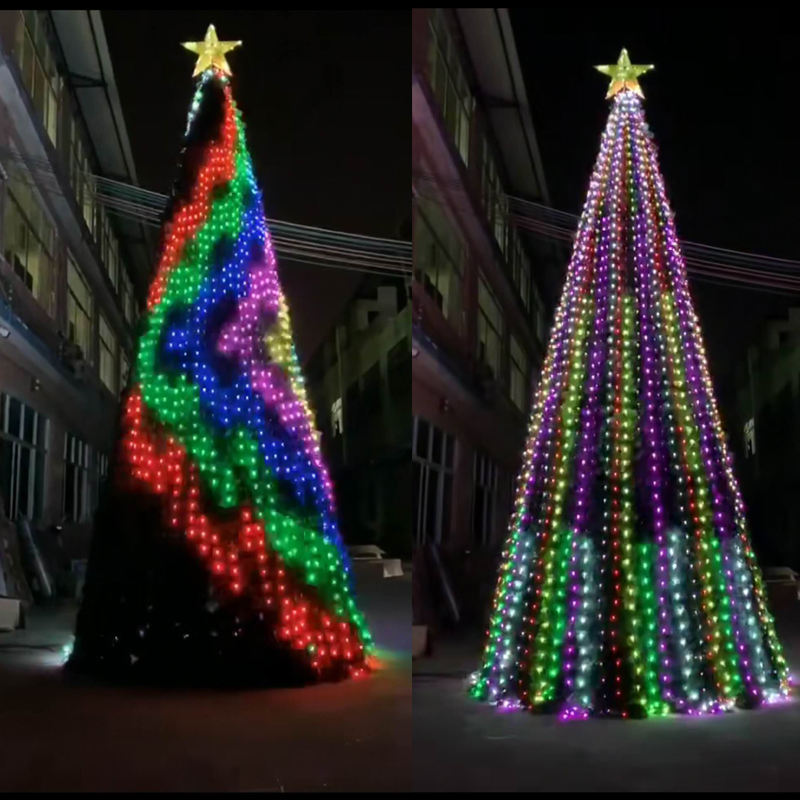 Customize curtain light DMX 512 program holiday christmas tree with led lights included led string lights