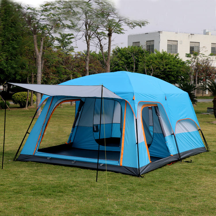 More than 8 person Super-Large Two Bed Rooms With One Living Room Tent Family Waterproof Outdoor Luxury Camping Tent