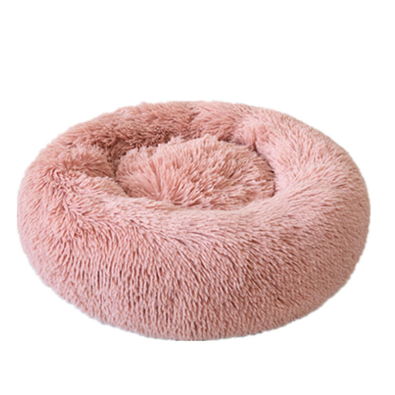 Hot Verkoop 40-120Cm Lange Pluche Donutt Super Soft Pet Bed Kennel Hond Ronde Winter Warm Hond Kat bed