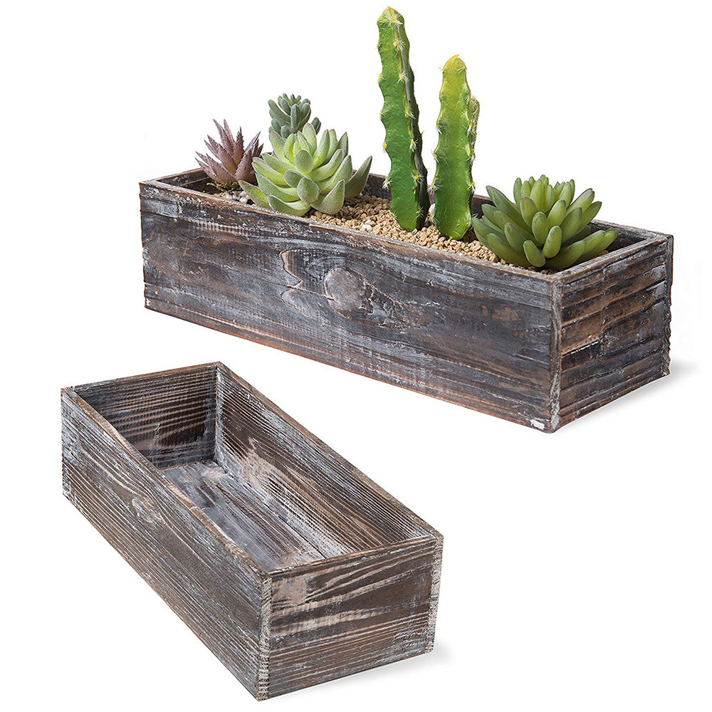 Country Rustic Brown Wood Nesting Succulent Planters, Windowsill Flower Pots, 2-Piece Set