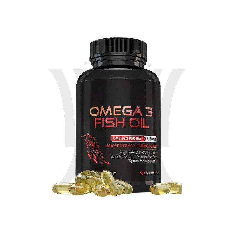 Omega 3 Fish Oil Supplements Max Potency Burpless Lemon Flavored Capsules - Essential Fatty Acids Supplement for Heart