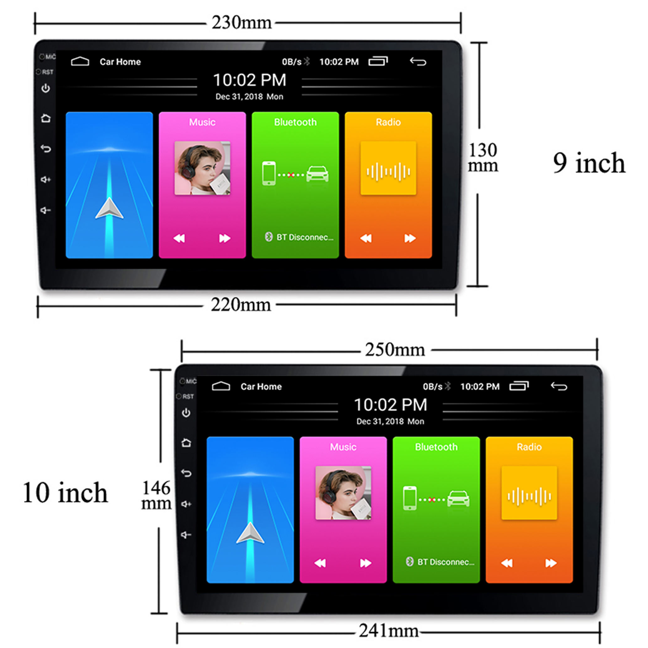 double din car stereo fm/am/sub android (1 16g) gps car audio 10.1 touch screen car radio with bluetooth indash