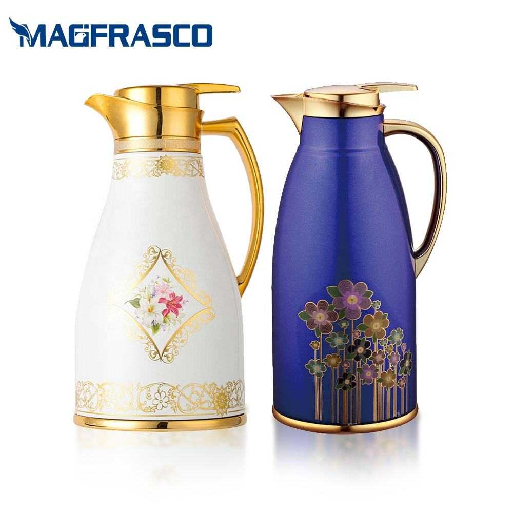 Keep Water Coffee Hot Cold White Blue Luxury Arabic Vacuum flasks & Thermoses with Glass Refill