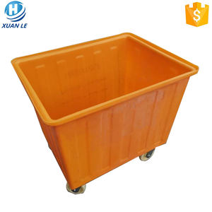 Plastic mobile used hotel luggage carts laundry trolley on wheels with lid