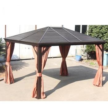 Outdoor aluminium garden tent with nets and curtains outdoor patio gazebo with hardtop