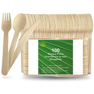 Hot selling wooden spoon disposable knife and fork set wooden eco friendly tableware disposable