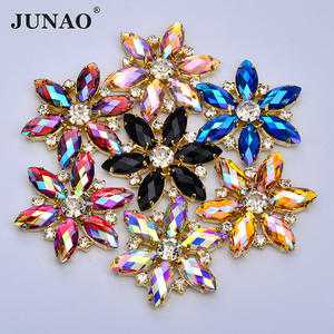 36mm Big Size Crystal AB Glass Rhinestone Flower Applique Sewing Strass Gold Claw Crystal Stones for Dress Shoes Crafts