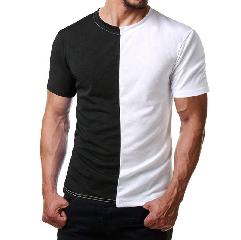 Custom Mens Split Two Tone Color Block Half Black Half White T Shirt