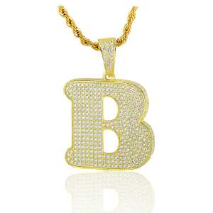 wholesale 2020 stylish s925 initial charm a-z gold bling round cz diamond initial necklaces